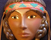 Mardi Gras Hand Painted Wall Hanging Ceramic Lady Mask Pocahontas Indian Girl Braided Pigtails No. 9