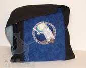 Mystical Snowy Owls Midnight Blue messenger monk bag hobo sling purse