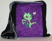 Zombie Kitty Purple and Black Messenger Monk Bag Sling Purse