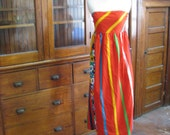 Vintage 70s Bright Red Striped Strapless Sun Dress Medium