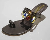Glam Bronze Black Jeweled Sandals Giant Teardrop Swarovski Crystals
