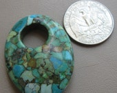 Mosaic Turquoise Agogo Pendant, Top Drilled Hole