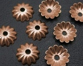 Small Fluted Flower Bead Caps, 6mm 50 (FIFTY), Copper plated Brass, 4 Colors