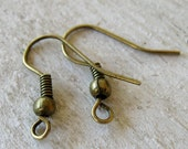 Antique Bronze French Hook Earwires, Nickel Free, 50 Pair (100 pieces), Other Colors available