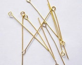 100 Gold Plated Eyepins, 21 gauge, 2 inches, Other Colors Available