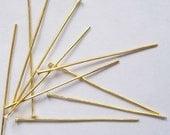 21g, 100 GOLD Headpins, 2 Inches Long, NICKEL FREE