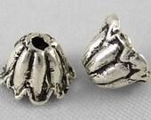Tibetan Silver Tulip Bead Caps, 7mm, 30 Pieces