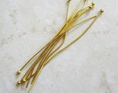 100 Gold plated Brass BALL Headpins, 24 gauge, 1.8 inches, Nickel Free