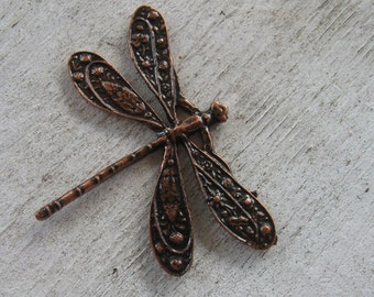 Copper, Gunmetal, Bronze, Gold, Silver Ornate Dragonfly, Large, Alloy 49mmx38mm-TWO
