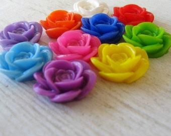 TEN 18mm x 8mm Large Resin Rose Flower Cabochons-TEN Variety