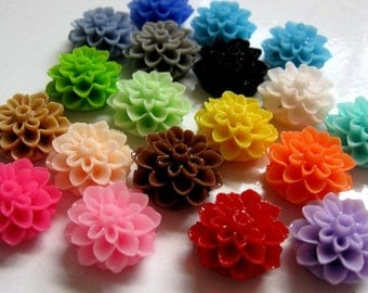 15x8mm  Resin Dahlia MUM Chrysanthemum Flower Cabochons-TWENTY Variety