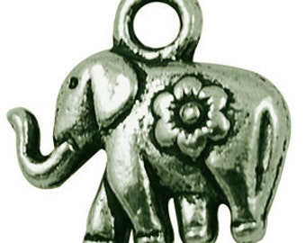 Small Tibetan, Antique BRONZE, Solid Elephant Pendant Charms (TEN)-See example, Nickel Free