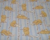 Blue Striped Winnie the Pooh Nursery Cotton Fabric 25 inches