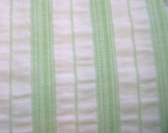 Green Stripe Seersucker Fabric