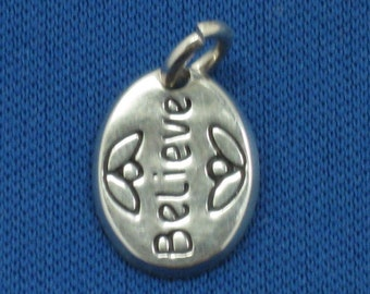 Believe charms in sterling silver