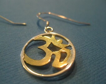 Sterling silver and brass ohm earrings OM