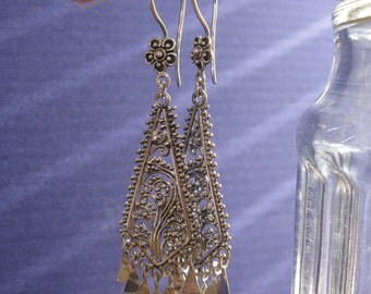 Long, Luscious, Tribal filigree earrings..Sterling silver...Gift Box ..