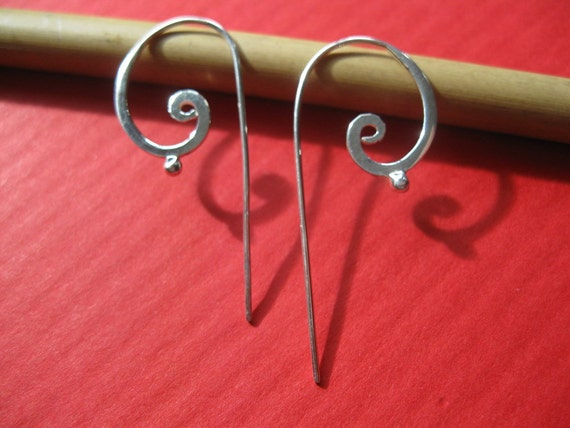 Petite STERLING SILVER  flat tribal  earrings with the spiral of life