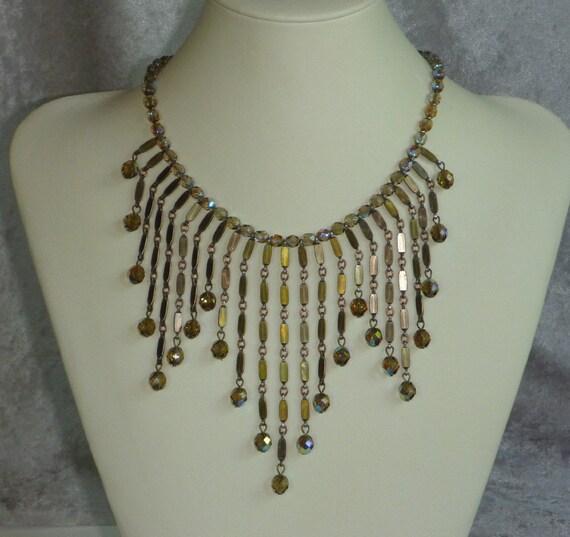 Vintage Chain Bib Necklace with Smoky Aurora Beads