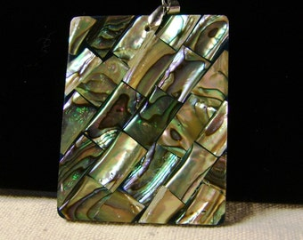 Natural abalone mosaic focal pendant 1pcs, SP-30