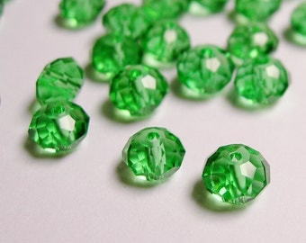 40 pcs crystal faceted rondelle -  6mm x 4mm -  AA quality - c6019 - vivid green