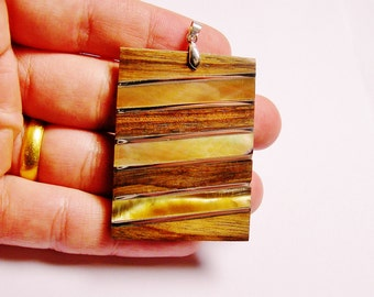 Wood and mother of pearl Shell pendant focal cabochon 1 pcs bail included, SP- 31