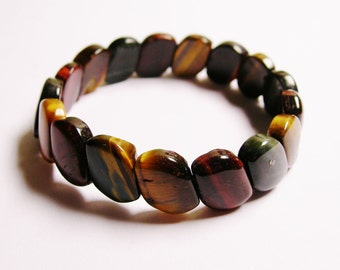 Tiger eye multi color Double holed beads bracelet - RFG308