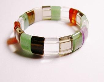 Multi quartz Double holed beads bracelet