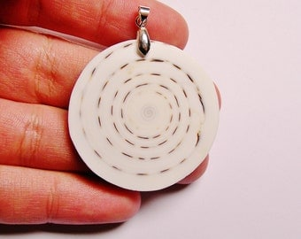 White cone Shell -  pendant focal cabochon -  1 pcs bail included - SP - 27