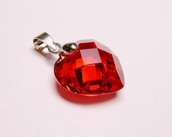 Ruby red Crystal heart pendant focal piece faceted tear drop 1 pcs