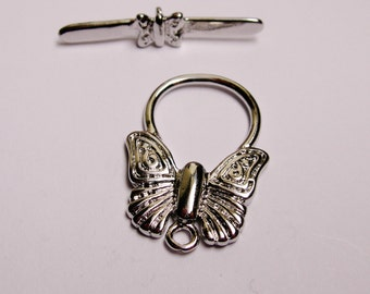 Toggle silver butterfly lead free nickel free 2 pcs