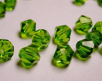 Crystal 6mm Bicone 60 pcs AA quality --sparkle dark peridot green