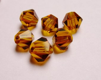 Crystal 6mm Bicone 60 pcs AA quality --sparkle dark amber