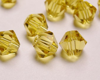 Crystal 6mm Bicone 60 pcs AA quality --sparkle yellow topaz