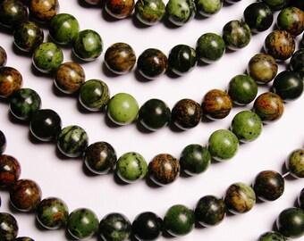 Rainforest jasper  - 10 mm round beads -1 full strand - 40 beads - A Quality - NRG166