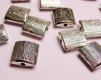 Silver color  beads hypoallergenic- 20 pcs -  silver textured square beads - ZAS 22
