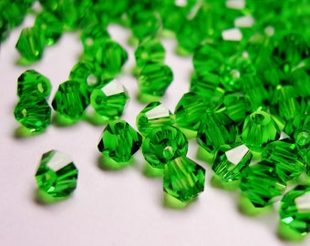 Crystal 4mm Bicone 100 pcs AA quality --sparkle evergreen green