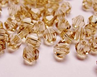 Crystal 4mm Bicone 100 pcs AA quality --sparkle soft smoky quartz