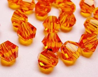 Crystal 4mm Bicone 100 pcs AA quality --vivid orange