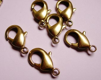 40 pcs - Brass -Lobster Clasps 18 mm hypoallergenic - nickel free- lead free - cadmium free