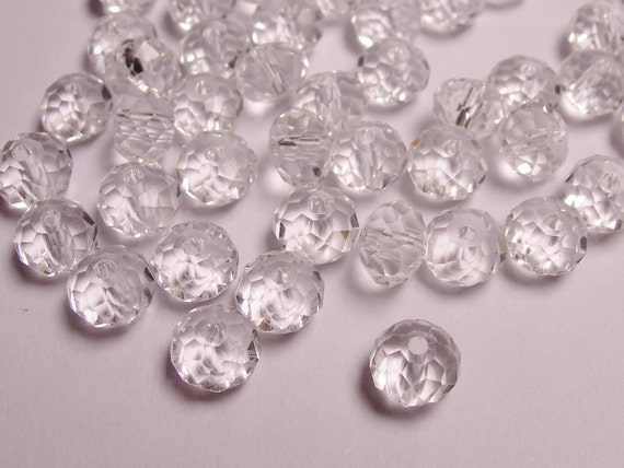 40 faceted rondelle crystal 6mm by 4mm - AA quality - clear color - c6001