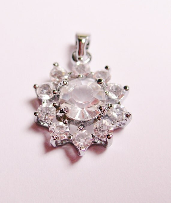 Crystal pendant focal faceted rhinestone  1 pcs clear color
