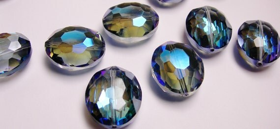 Crystal faceted focal beads oval 6 pcs 24mm by 19mm  AA quality dark agua blue