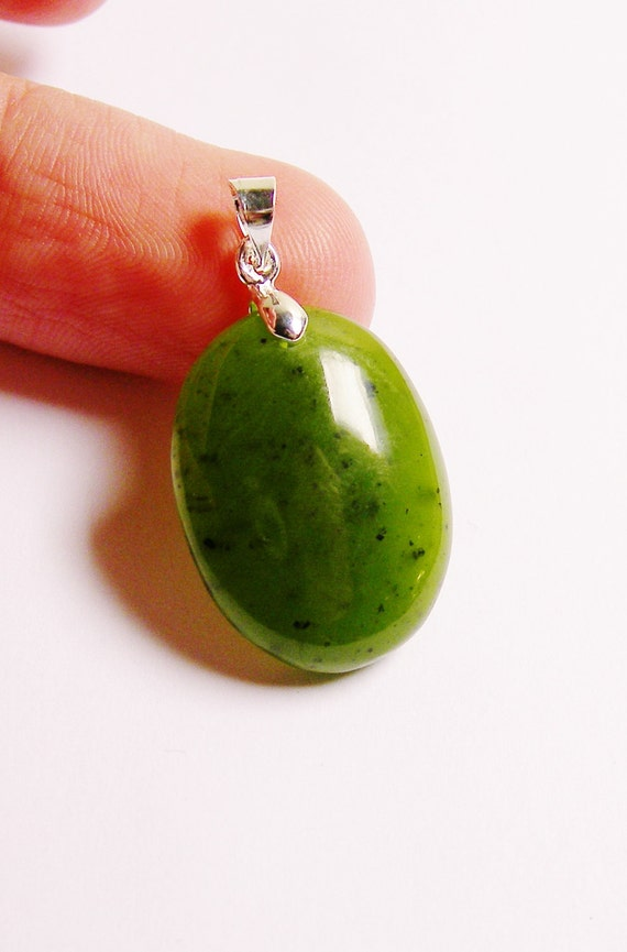 Jade  focal Cabochon  pendant drill on top bail included 1 pcs genuine Jade from BC Canada