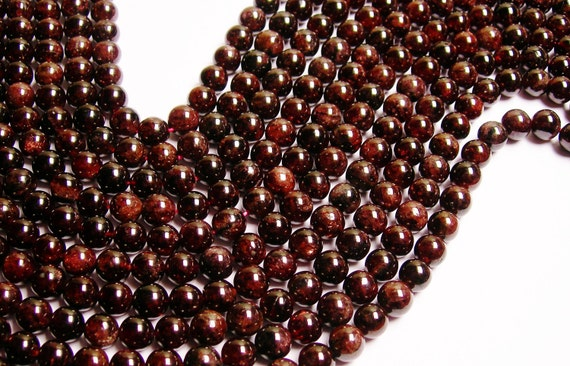 Red Garnet round 8mm A quality 48 beads per strand 1 full strand
