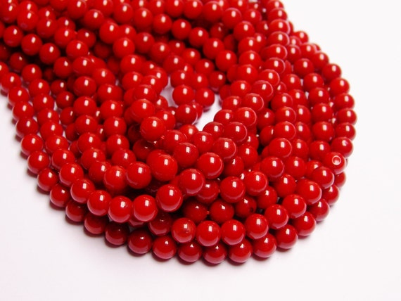 Coral red 6mm round bead - 1 full strand, AA quality 74 beads