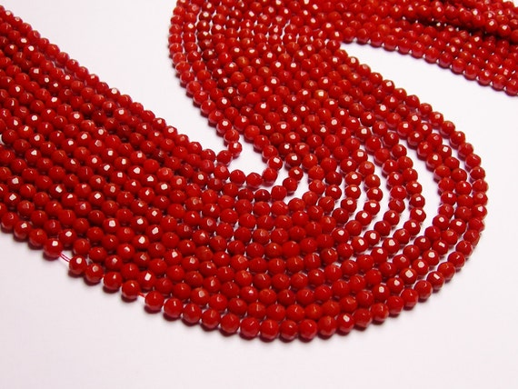 Coral red 4mm faceted round bead - 1 full strand, AA quality 94 beads