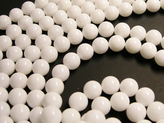 White Jade 12mm round beads - 1 full strand - 33 beads per strand - A quality - RFG1168