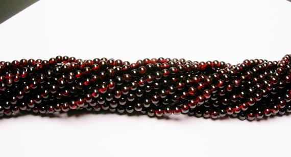 Red Garnet  4mm round 103 beads per strand  A  quality