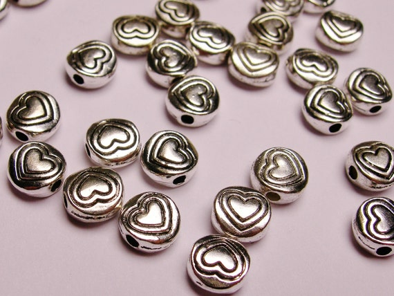 Silver color  beads hypoallergenic- 100 pcs - round engraved heart - ZAS - 1